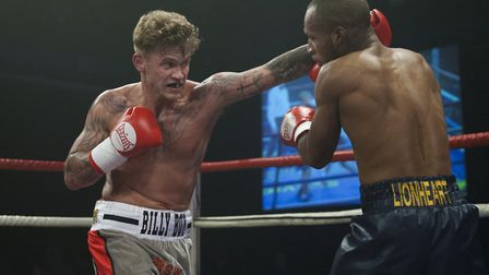 Billy Bird, left, in action against Ashley Dumetz, fights for a Southern Area title this weekend. Pi