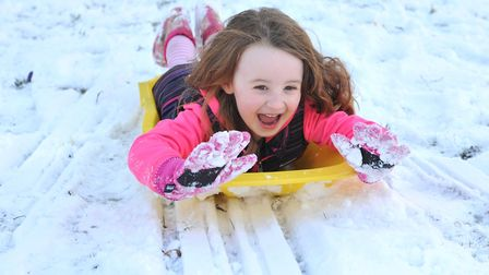 Maria Gornall having fun in the snow as the Beast from the East hit. Weather forecasters are predict