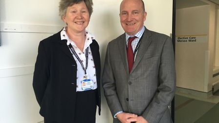 Dr Barbara Buckley and Nick Hulme during a briefing about the Ipswich and Colchester hospitals merge