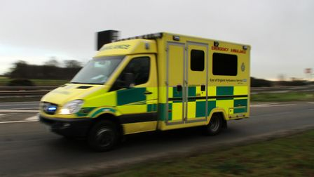 The injured cyclist was taken to hospital after the crash just off the A1302. Picture: SIMON PARKER