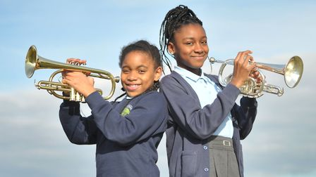 Pupils from The Willows Primary School in Ipswich rehearse in the grounds of Snape Maltings. Pict