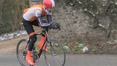 James Rush - sole CC Sudbury finisher in West Suffolk Wheelers' Hilly Time Trial. Photo: ROGER RUSH