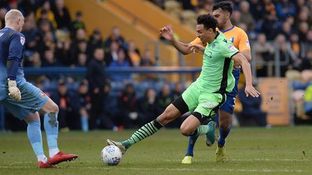 Kurtis Guthrie goes close during the recent draw at Mansfield. But the U's striker is currently out-