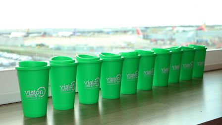 Some of the reuseable cups being given away at London Stansted Airport.
