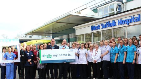 Staff at West Suffolk Hospital in Bury St Edmunds took part in the #HelloMyNameIs campaign. Picture: