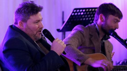 Mat Bayfield and David Booth perform as Bayfield Booth. Picture: TONY BELL