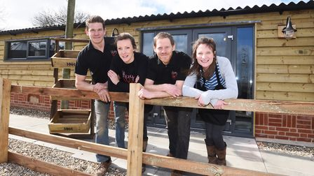 Nathan Wiffen and family is set to open the Hog and Hen Farmshop on the farm. Left to right, Luke an