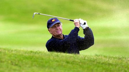 Jack Nicklaus plays from a bunker. His 18 Majors is still a record. Photo: ANDREW MILLIGAN
