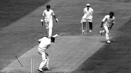 England captain Tony Greig's (bottom) off stump is sent flying, as he collects a duck while facing t