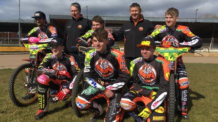 Mildenhall Fen Tigers 2018 - Back row Left to right: Danny Ayres, Phil Kirk (team manager), Josh Bai
