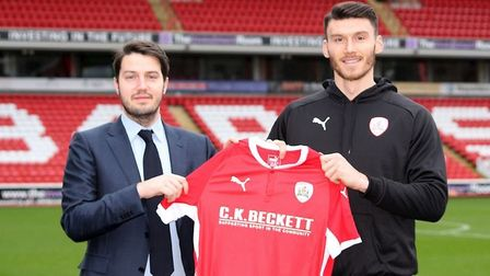 Kieffer Moore will return to Portman Road with Barnsley in April. Photo: Barnsley FC
