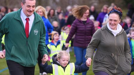Wells Hall Primary school launches The Daily Mile at the school with all the pupils doing their firs