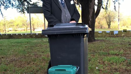 Michael Talbot, Tendring District Council's cabinet member for environment, with the range of bins t