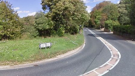 The crash happened on the A1071 in Hintlesham near the junction with Duke Street. Picture: GOOGLE