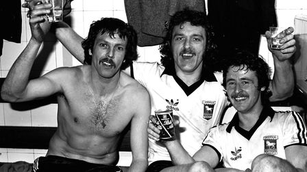 Allan Hunter, Kevin Beattie and Robin Turner celebrate at Highbury in 1978 after Town had just beate