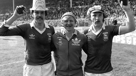 FA Cup final Wembley winners, left to right: Allan Hunter, Cyril Lea (first team coach) and Kevin