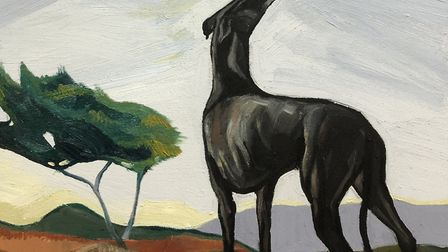 Greyhound in the landscape by Ania Hobson who is exhibiting at Snape Maltings during the Easter Week