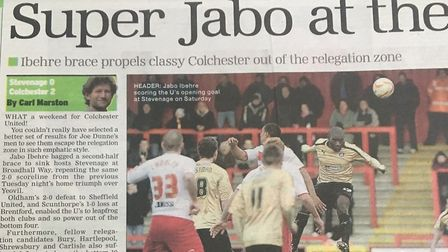 How the EADT reported on the U's 2-0 win at Stevenage from March 2, 2013.