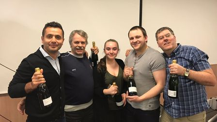 The Pound Gates quiz team who won the Pure charity quiz