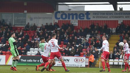 Mikael Mandron scores the winner for the U's at Stevenage in a 1-0 success yesterday afternoon. He d