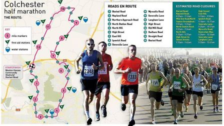 The route, road closures and timings for the Colchester Half Marathon on March 25. Picture: ARCHANT