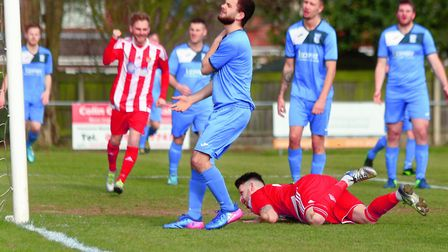 Despair for Haverhill Borough as Miles Powell see his low header hit the back of the net to open the