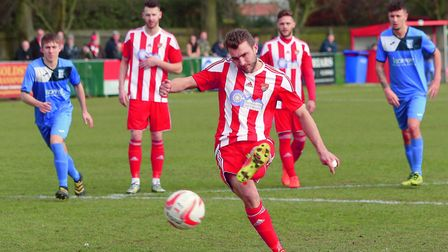 Joe Francis makes it 2-0 Seasiders from the spot. Picture: STAN BASTON
