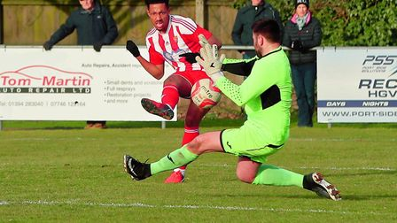 Sam Ford opens his account for the Seasiders as his finish is too hot for Borough's Niall Conroy. Pi