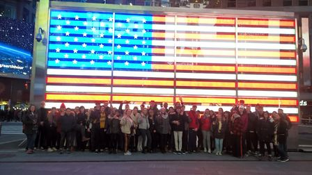 School of Art and Design students from the West Suffolk College in Time Square, New York.