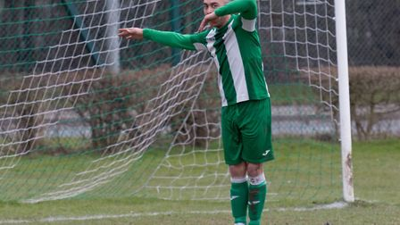 Duane Wright celebrates during his four goal tally for Whitton United. Picture: PAUL VOLLER