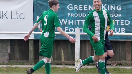 Duane Wright celebrates during his four-goal haul for Whitton United in their 5-3 win over Wisbech S