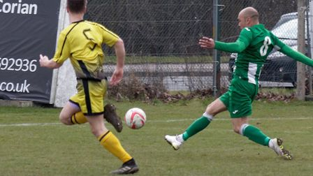 Duane Wright scores of his four goals for Whitton. Picture: PAUL VOLLER