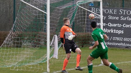 Stefano Mallardo watches his header hit the net for Whitton. Picture: PAUL VOLLER