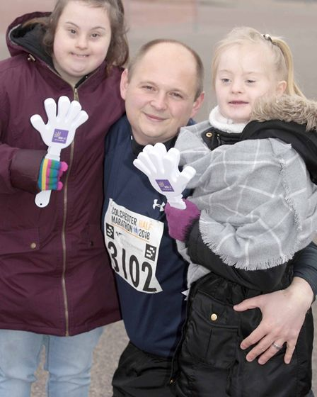 Nikki and Anna Spurling with Andy Langsdon at Colchester Half Marathon 2018. Picture: NIGE BROWN