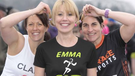 Emma Cumings, Louise Cster and Claire Minns at Colchester Half Marathon 2018. Picture: NIGE BROWN