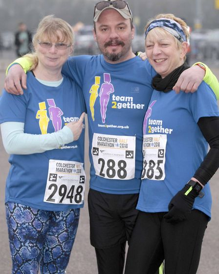 Michelle Morrcroft, Lee Stearn and Silvana Adwent at Colchester Half Marathon 2018. Picture: NIGE BR
