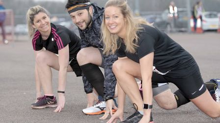 Rachell Harle, Sophie Verhoeven and Luca Sesposito at Colchester Half Marathon 2018. Picture: NIGE B
