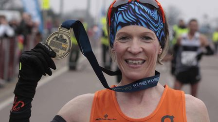 Helen Davies, first woman across the finish line of Colchester Half Marathon 2018. Picture: NIGE BRO