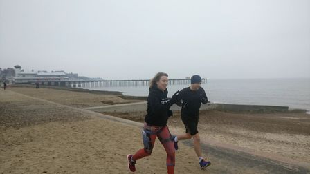 Felixstowe Parkrun organiser Sarah Fitch training on the resort's prom. Picture: SARAH FITCH