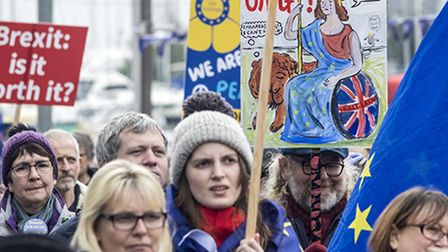 Suffolk EU Alliance's anti-Brexit march for the Eastern Region at Ipswich waterfront. Picture: G. CR
