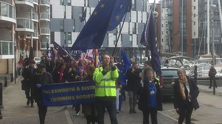 Pro-EU supporters march along Ipswich Waterfront during the Let's Stay Together rally. Picture: RICH