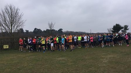 Runners, joggers and walkers congregate for the start of the Kesgrave parkrun on Saturday. Pictures: