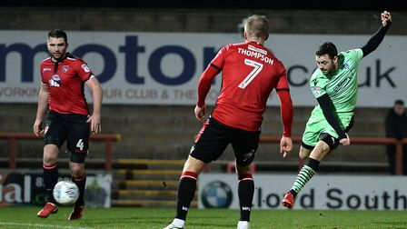 Drey Wright has a rare sight of goal during last Tuesday night's 0-0 stalemate at Morecambe. Picture