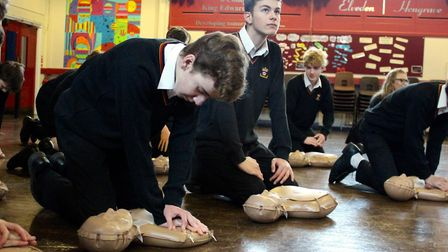 Students at King Edward VI School in Bury St Edmunds have been learning CPR on new kits. Picture: KE
