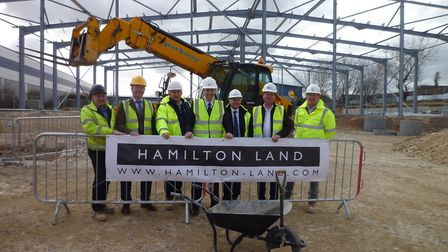The ground-breaking ceremony at Newmarket Business Park, attended by Allan Carr of Parkway Construc