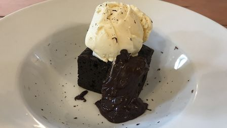 Chocolate brownie and ice cream at The Greyhound, Ipswich. Picture: Archant