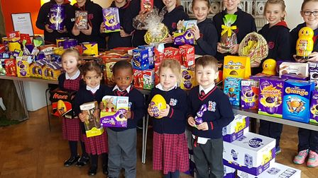 The children at Finborough School in Stowmarket teamed up to give a helping hand to those in need. P