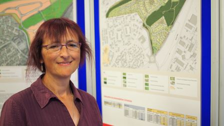 Parish council clerk, Heather Heelis, at the public exhibition on plans for up to 300 homes in Rendl