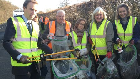 Matt Hancock MP for West Suffolk with Kentford's Rubbish Friends, which is a local group dedicated t