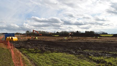 The dig is taking place behind Chilton playing fields in Stowmarket. Picture: TREVOR CONNICK